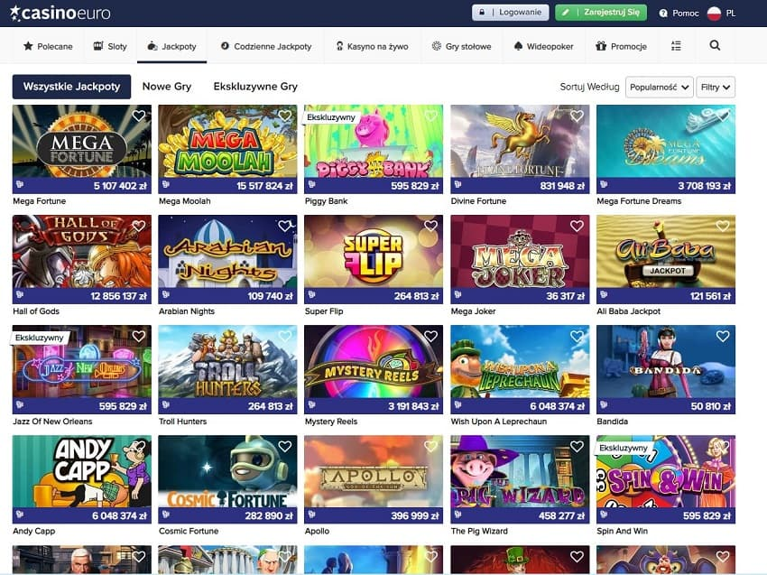 Casino Euro jackpoty